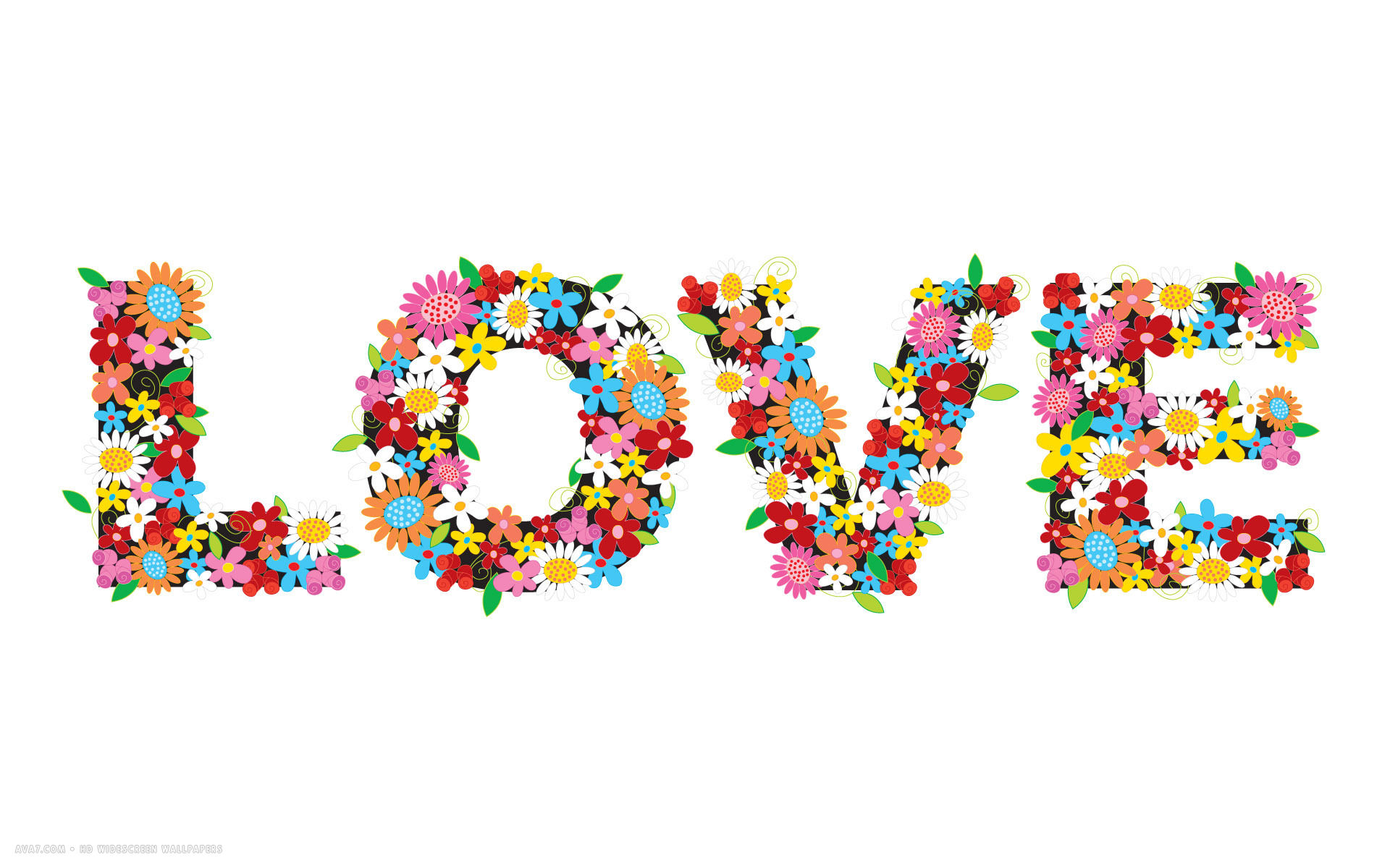 Love Word Vector Flowers Colors White Simplistic Hd Widescreen Wallpaper
