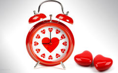 love romantic time alarm clock red hearts