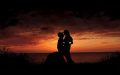 romantic kiss sunset love couple evening seaside shadow