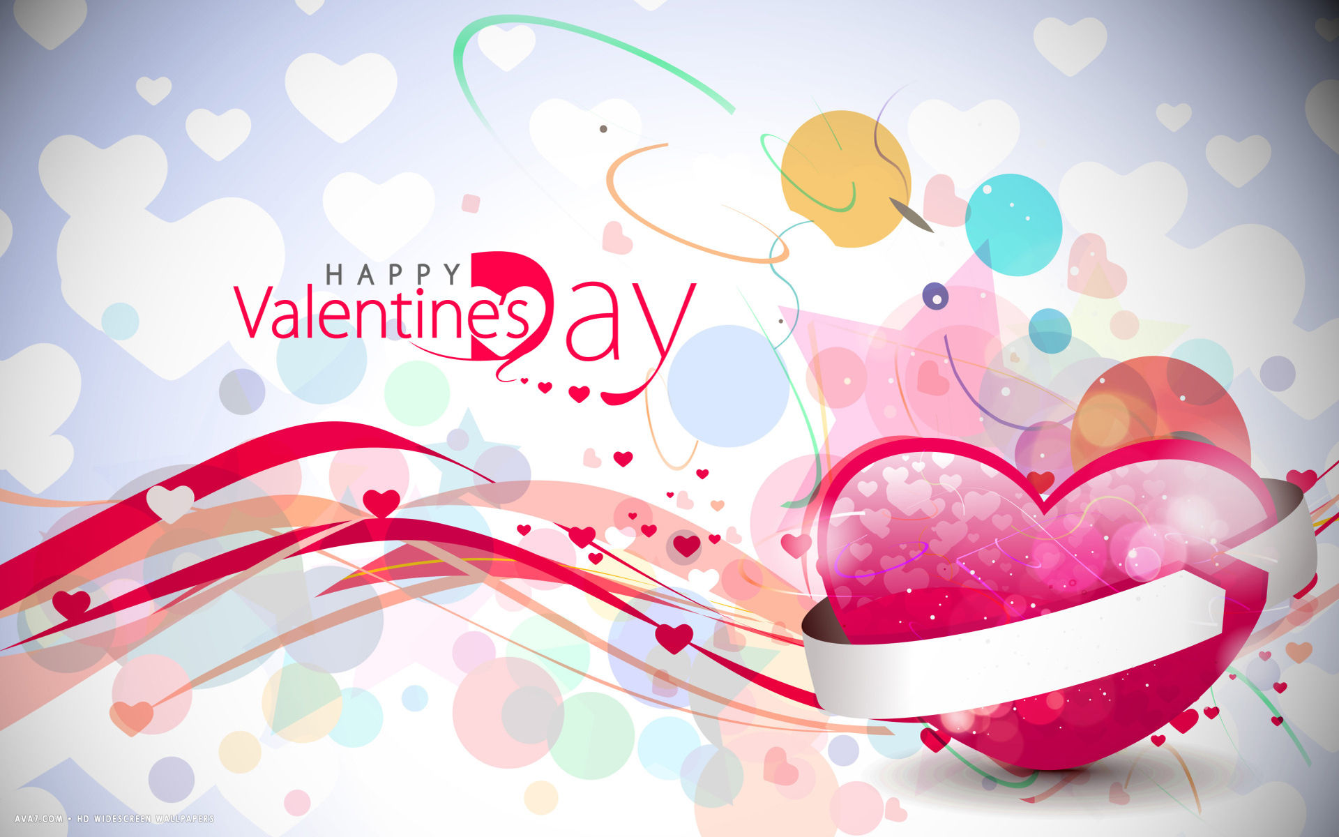 Valentines Day Happy Abstract Hearts Colorful Love Hd Widescreen Wallpaper