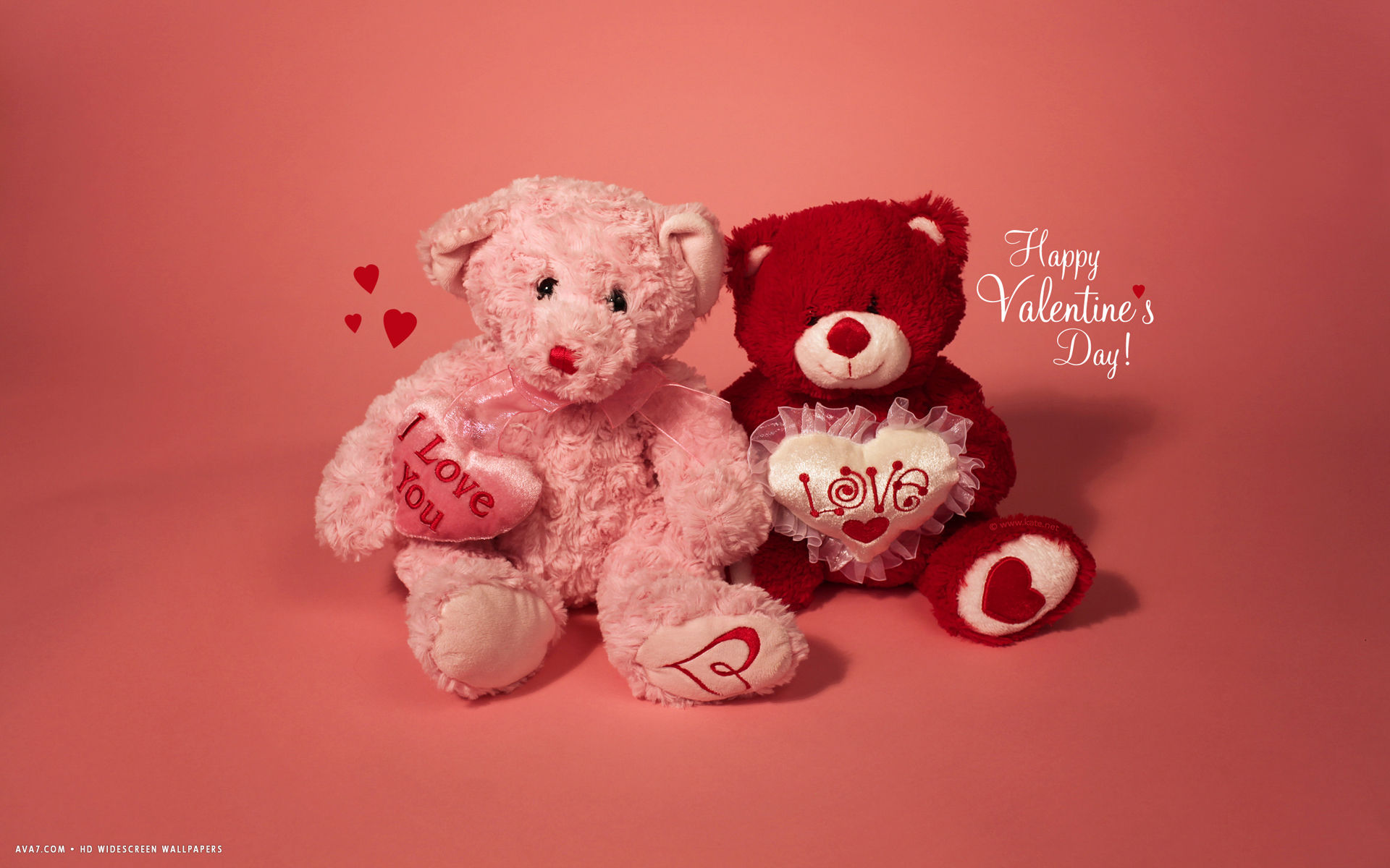 Valentines Day Happy Teddy Bears Hearts I Love You Hd Widescreen