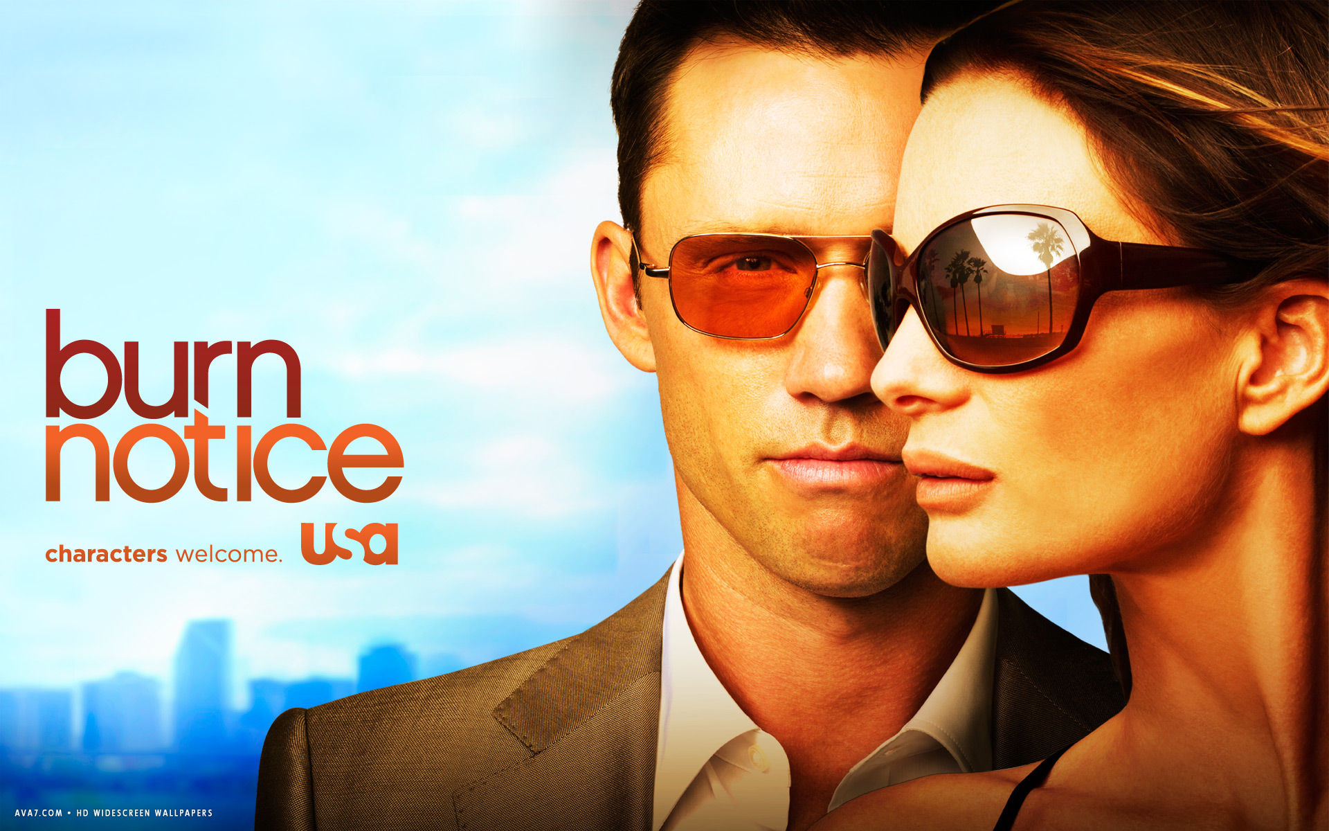 burn notice tv series show hd widescreen wallpaper