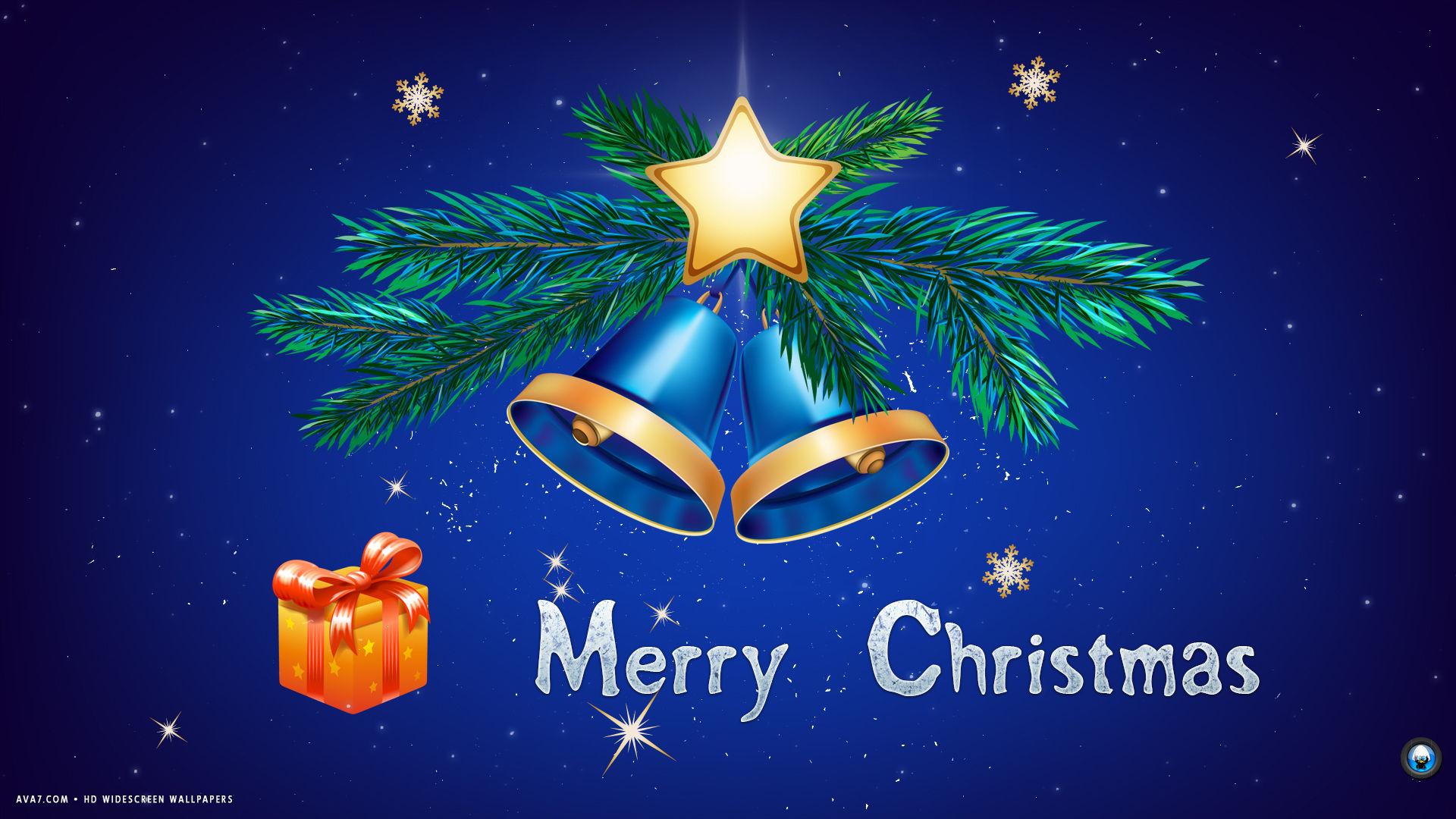 merry christmas blue bells present stars holiday