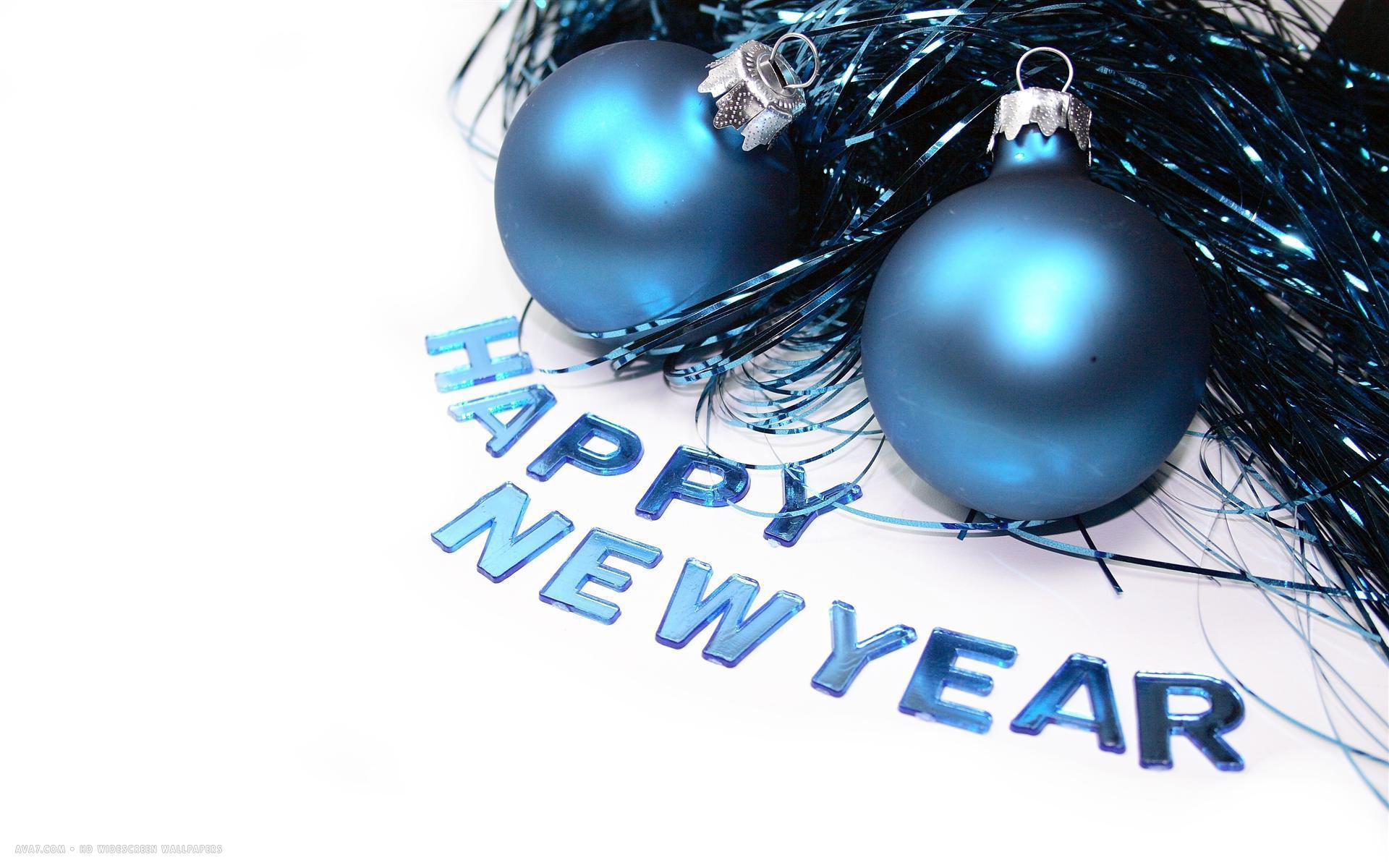 happy new year blue christmas tree balls holiday