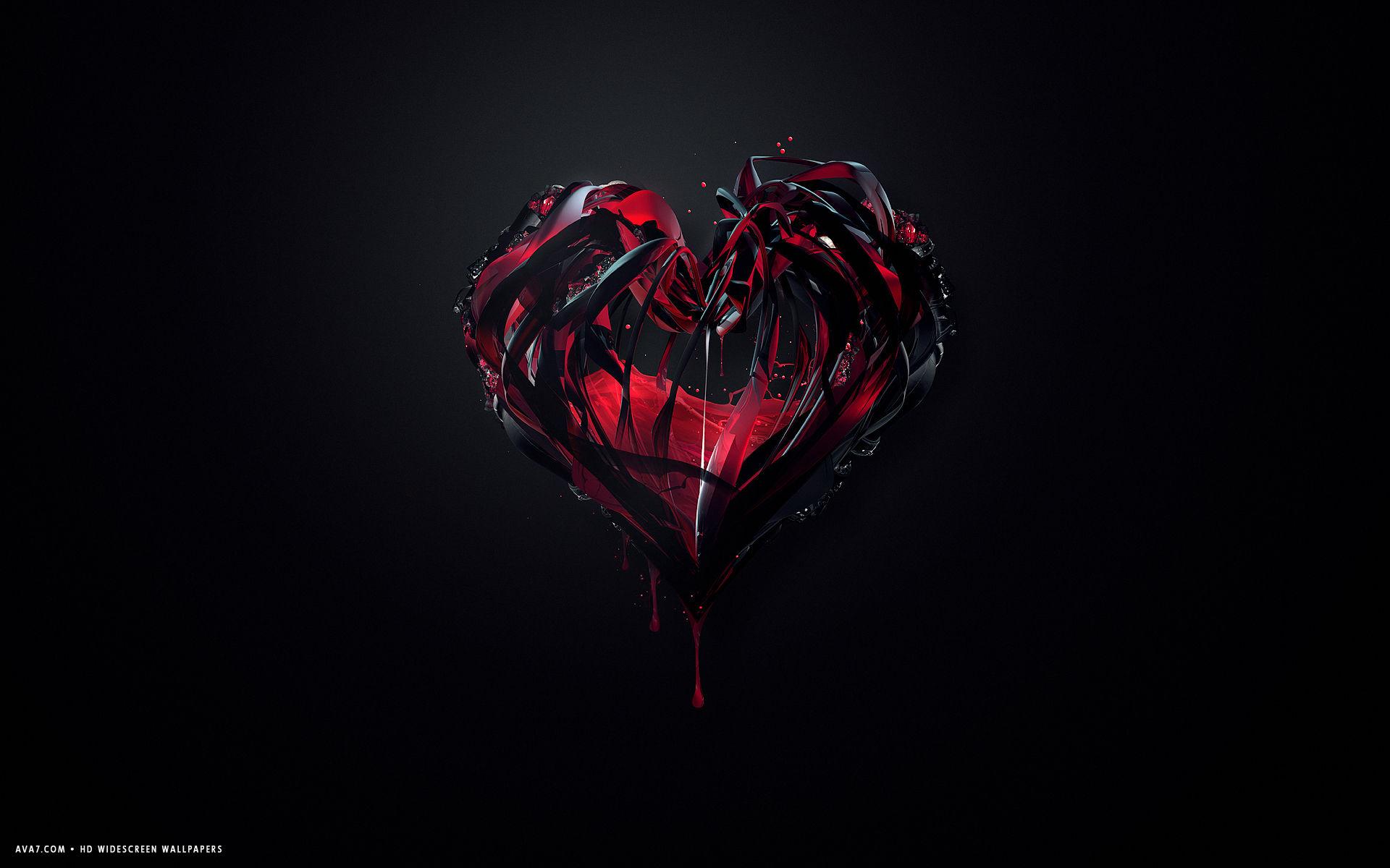Broken Red Black Heart Lines Glass Drops Melting Hd Widescreen